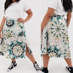 ASOS Boho Tie Dye Satin Maxi Skirt Plus size 24